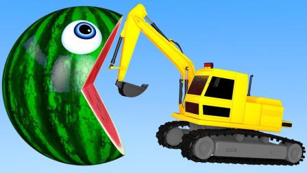 吃豆人世界:这次咱们伪装成大西瓜,猜猜看挖掘机会发现吗?游戏