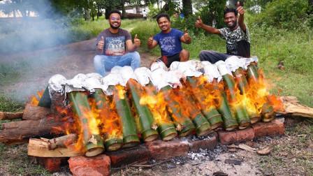 """实拍:印度的特色美食""""竹筒鸡"""",一起看看印度人怎么吃!"""