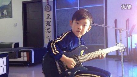 Chinese 6 year boy xiehao(谢豪) 无伴奏清弹《新赛马》——电吉他演奏