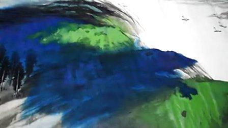 中国当代实力派山水画家李茂群国画山水视频教程 泼彩山水 长江