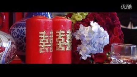 禧百年中式婚礼 红蓝撞色 中国牡丹