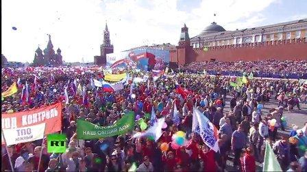 """2014年俄罗斯庆祝""""五一""""国际劳动节红场游行"""