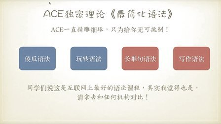 ACE《最简化语法之傻瓜语法》第1讲英语句子成分与五大基本句型