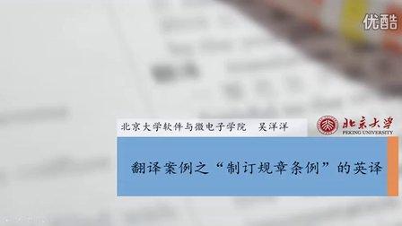 """翻译案例——""""制定规章条例""""的英译——吴洋洋"""