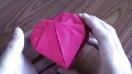 折纸王子大全 中级折纸 折纸心形纸盒爱心礼盒 盒盖的折法