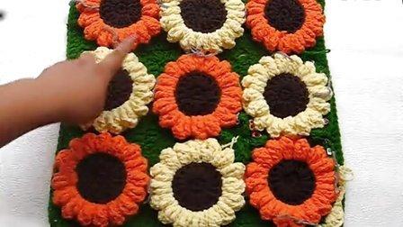 温暖你心毛线店 第66集 钩针编织向日葵花坐垫-单元花的连接 手工棒针毛线视频 花样图解