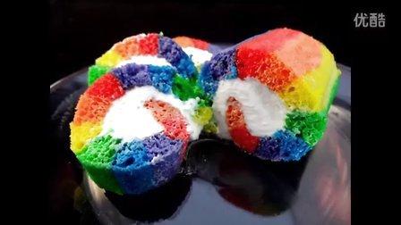 【大吃货爱美食】彩虹蛋糕卷 就是任性的想吃一个 141124