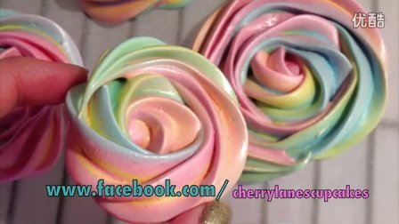 彩虹玫瑰蛋白饼干Rainbow Rose Meringue Cookies
