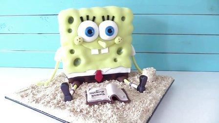纯手工制作翻糖海绵宝宝蛋糕