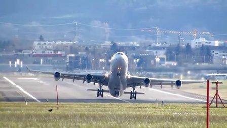 苏黎世机场航班侧风起降(一整天)