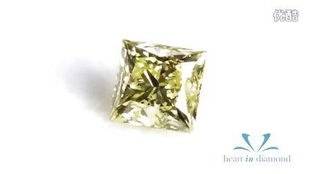 恒远钻石(心音钻石)Heart In Diamond  黄绿色公主方形切工Yellow-Green