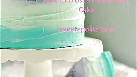 蛋糕装饰之蛋糕渐变色演示 油画肌理