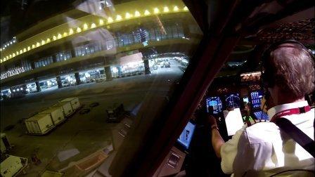 驾驶舱实拍荷兰皇家航空波音747-400F在香港机场启动 起飞