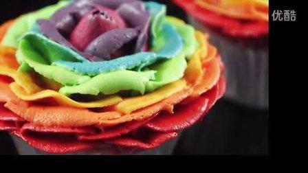 制作彩虹玫瑰杯子蛋糕-cupcake演示教程