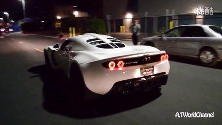 夜间实拍世界最快亨尼西改装超跑排气声浪 Hennessey Venom GT