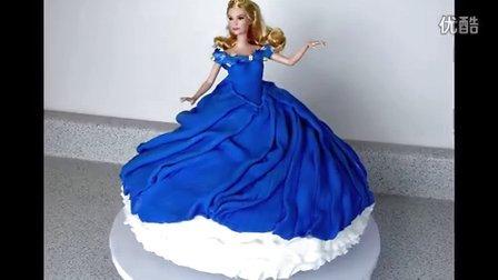灰姑娘翻糖蛋糕演示 芭比蛋糕