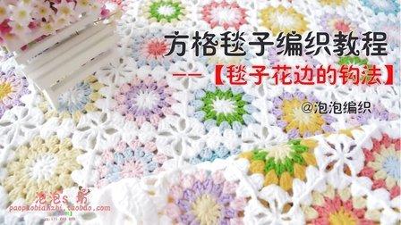【泡泡编织】 雏菊方毯第三部分 毯子勾边的钩编方法 田园风格方毯子 风吹麦浪毯子 频教