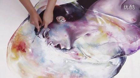 【失逝】水彩教学视频-APNEA - sped up painting
