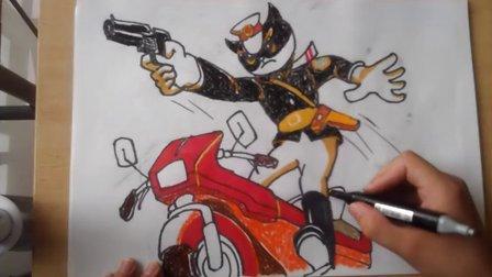 卡通画儿童画黑猫警长根李老师学画画