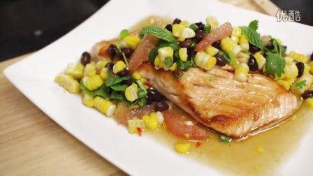 【泰餐】三文鱼豆子玉米做的沙拉  - Hot Thai Kitchen!