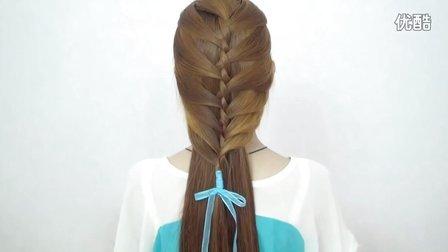 韩式编发两股夹双收半扎日常生活发型