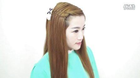 非常简单的一款青春可爱淑女刘海编发