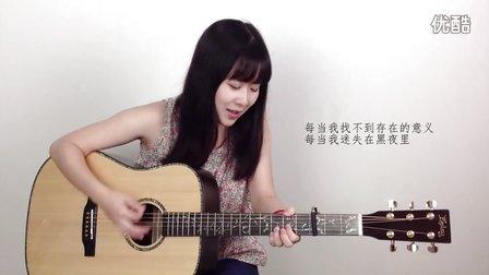 夜空中最亮的星-逃跑计划 妹子Nancy 吉他教学 吉他教程