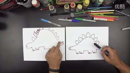 How To Draw A Stegosaurus 《for younger kids》 剑龙