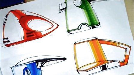 【绘友工业设计手绘公开课】产品三视图马克笔上色技巧——绘友手绘工作室