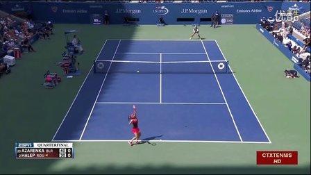 2015美国网球公开赛女单QF 阿扎伦卡VS哈勒普 (自制HL)