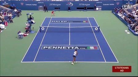 2015美国网球公开赛女单SF 佩内塔VS哈勒普 (自制HL)