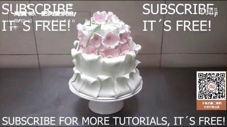 扫视频淘宝二维码有礼!粉色花朵翻糖蛋糕