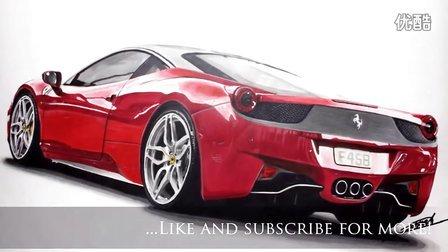 马克笔素描 法拉利 458 Italia