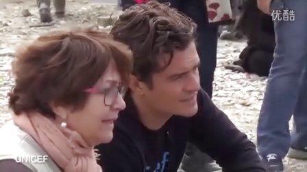 UNICEF亲善大使Orlando Bloom探访希腊马其顿边境的难民营