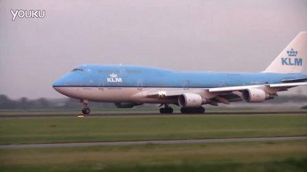 荷兰皇家航空波音747和777傍晚阿姆斯特丹机场起飞