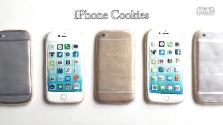 【微博@肥肉ai烘焙】苹果手机糖霜饼干、甜品桌