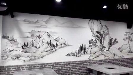 济宁墙体彩绘_济宁川川串火锅手绘墙画案例_尚上彩绘提供