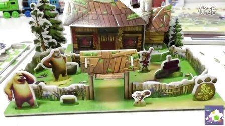 熊出没之冬日对对碰 光头强的家雪岭熊风 3D拼图折纸益智手工 亲子互动玩具