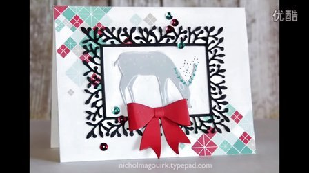 【卡片制作】清新的圣诞卡Simon Says Stamp December Card Kit _ Framed Reindeer