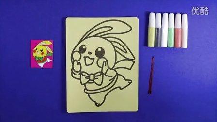 亲子游戏沙画 智力游戏  小兔子沙画 立体小手工 儿童沙画视频