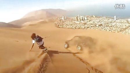 和越野车一起滑沙