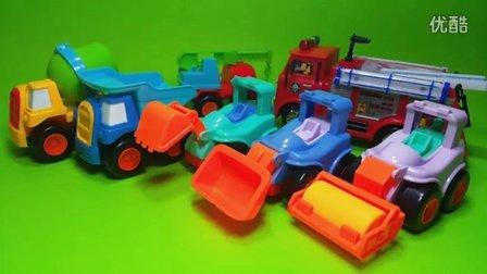 消防员山姆消防车 挖掘机 推土机 工程车 搅拌车 压路机 玩具车开封 奥特曼 奥特蛋