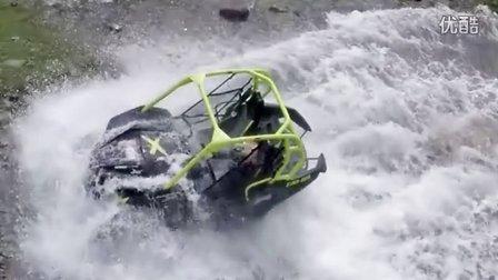 【汽车航拍】速度季女主持人驾驶庞巴迪指挥官高速涉水全身湿透