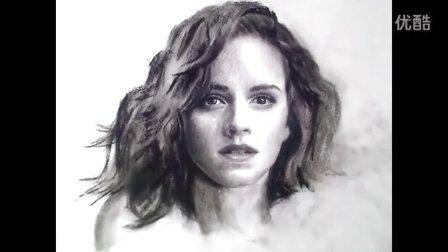 Emma Watson Portrait Drawing video国外素描人头像  美女