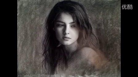 Beautiful Wistful Girl - Timelapse Art Portrait Video 国外素描人头像美女