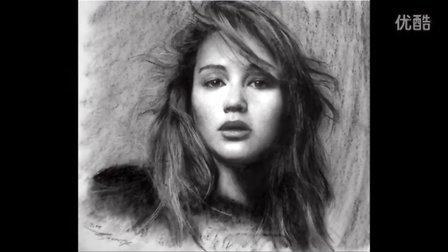 Drawing Upside Down! Jennifer Lawrence portrait video国外素描人头像美女