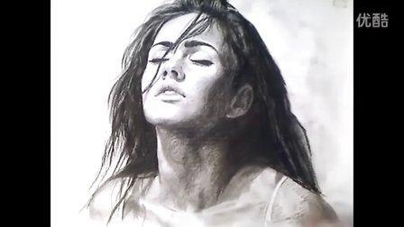 Megan Fox charcoal Portrait Drawing video - 国外素描人头像 美女