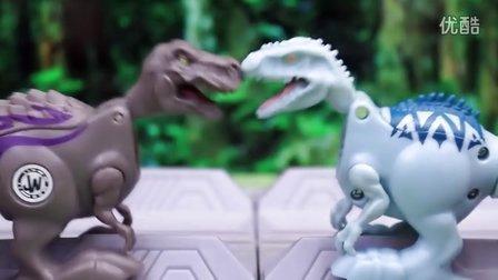 侏罗纪世界恐龙对战 蝙蝠侠与超人PK恶棍 Jurassic World玩具