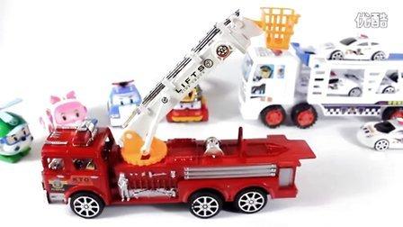 玩具总动员 惯性动力消防警车 可旋转升降云台 变形机器人警车poli