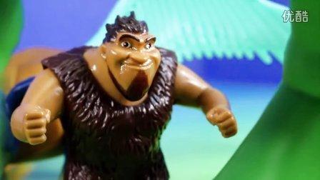 疯狂原始人玩具 鹦鹉虎&鳄犬 大战恐龙